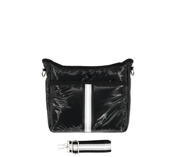 Puffy Nylon Crossbody with Changeable Strap - Black