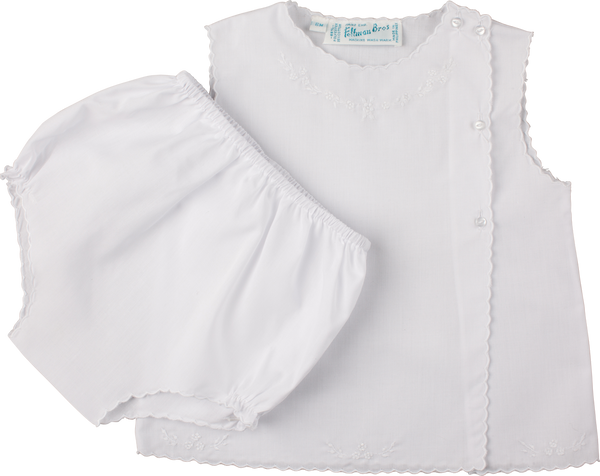White Diaper Set with White Embroidery