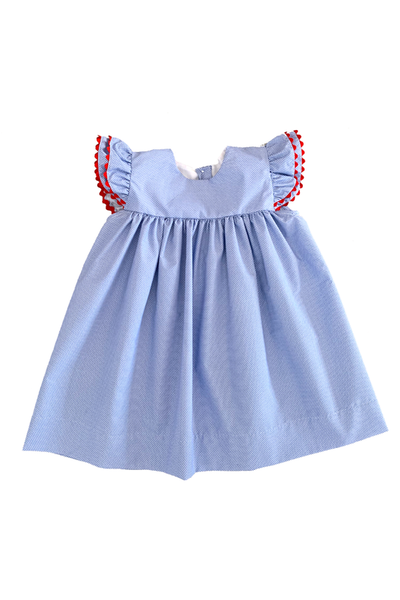 Blue Angel Sleeve Dress w/ Red Trim
