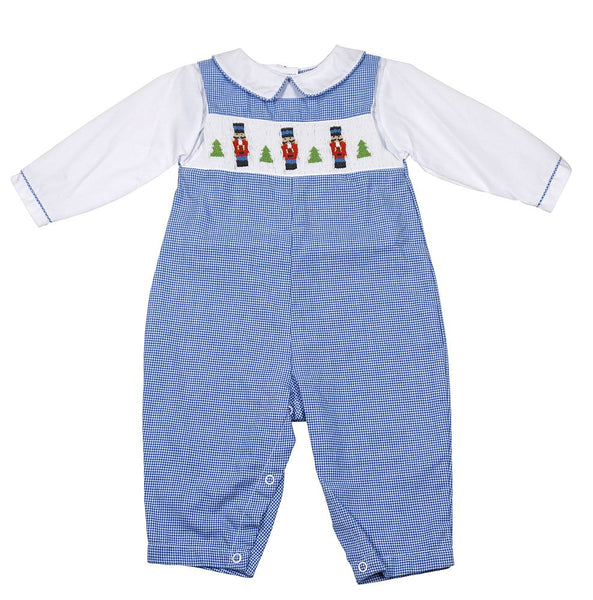 Nutcracker Smocked Blue Gingham Longall