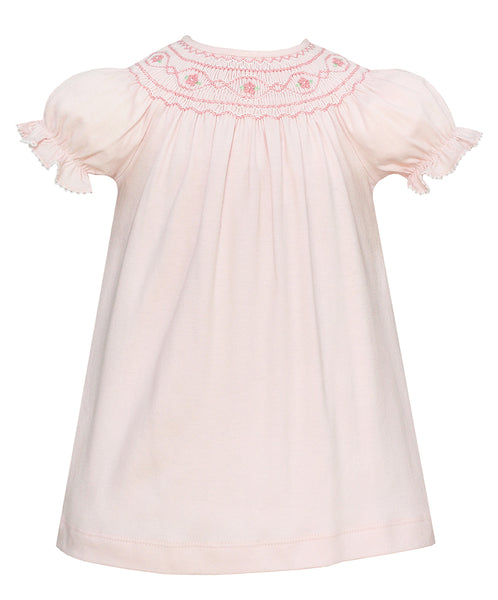Short Sleeve Knit Pink Smocked Bishop