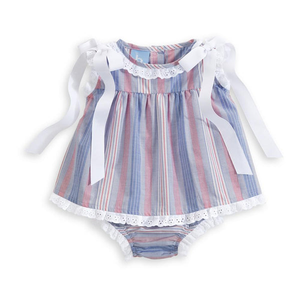Eyelet Trim Bloomer Set - Catalina Stripe
