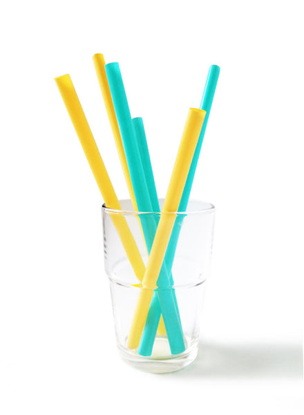Silicone Drinking Straws - 6pk - Sea/Orange