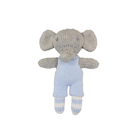 "7"" Crochet Blue Elephant Rattle"