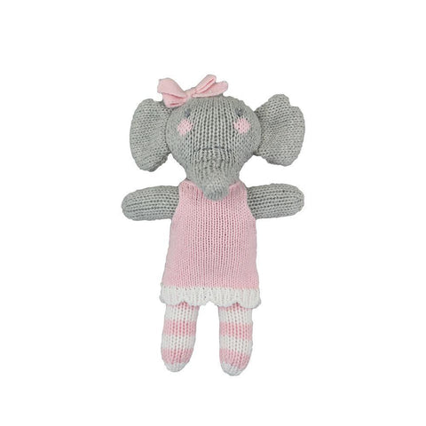 "7"" Crochet Pink Elephant Rattle"