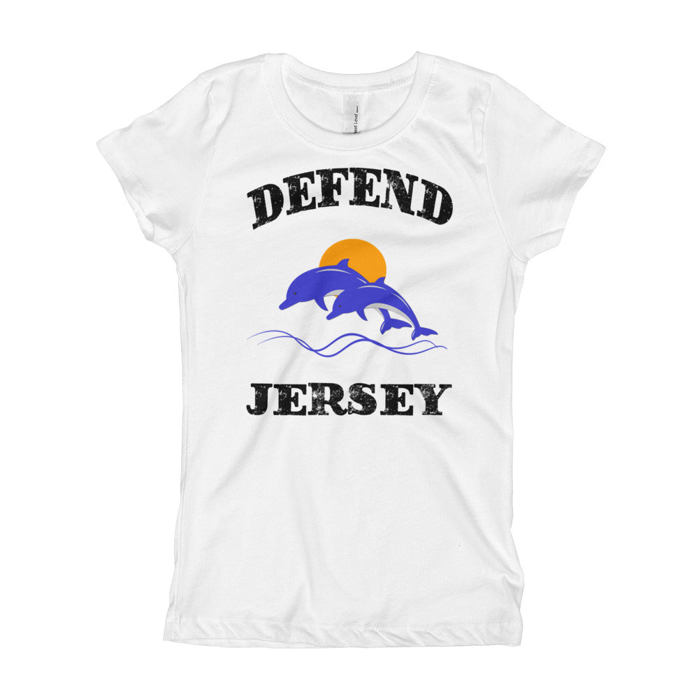 Defend Jersey Dolphins Color Girl's T-Shirt w/Black Design