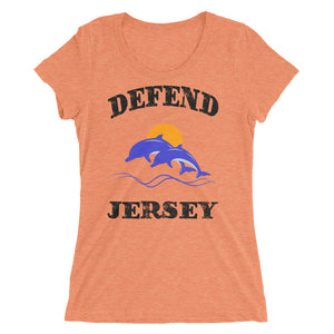 Defend Jersey Dolphins Color Ladies' short sleeve t-shirt w/Black Design