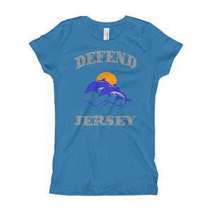 Defend Jersey Dolphins Color Girl's T-Shirt w/Gray Design