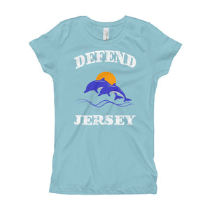 Defend Jersey Dolphins Color Girl's T-Shirt w/White Design