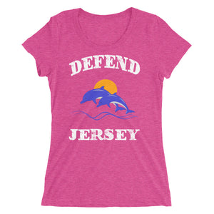 Defend Jersey Dolphins Color Ladies' short sleeve t-shirt w/White Design