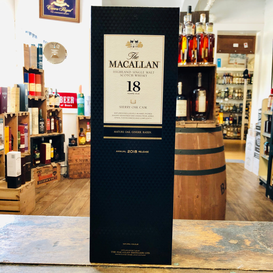 THE MACALLAN 18 YEAR SHERRY OAK HIGHLAND SINGLE MALT SCOTCH 750ML