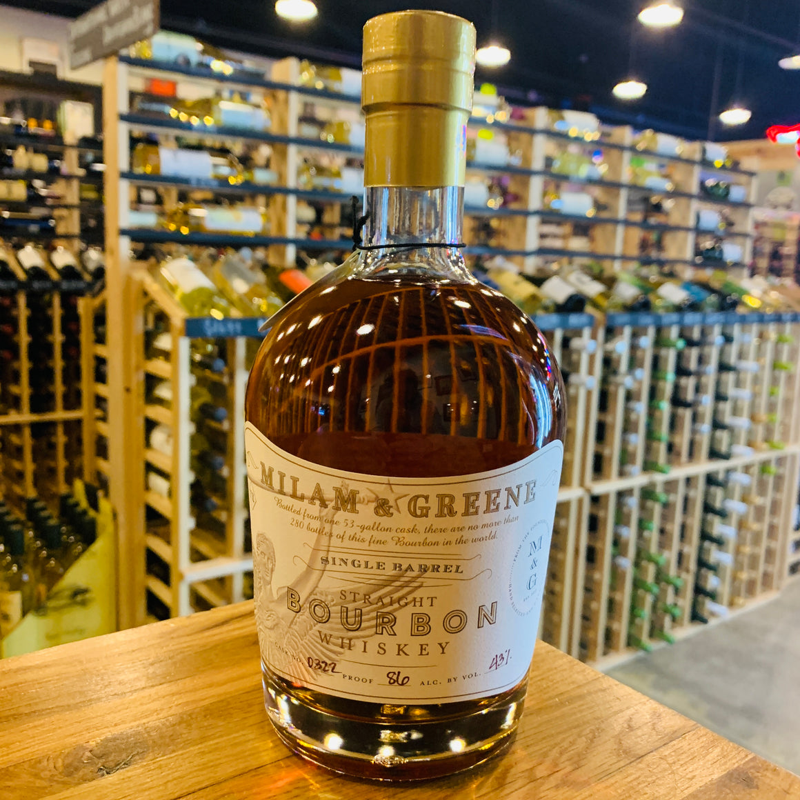 MILAM & GREENE SINGLE BARREL BOURBON 750ML