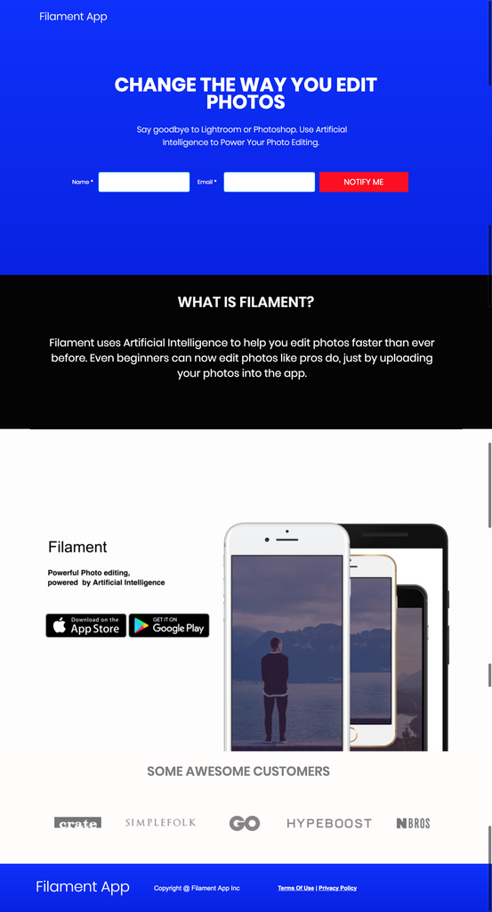 Filament: Landing Page For Apps, Startups, & SaaS Products