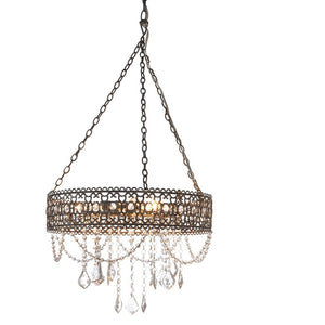 Greywash Hanging Filigree 3-Light Chandelier