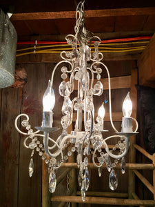 Antique White and Gold Four Arm Beaded Chandelier