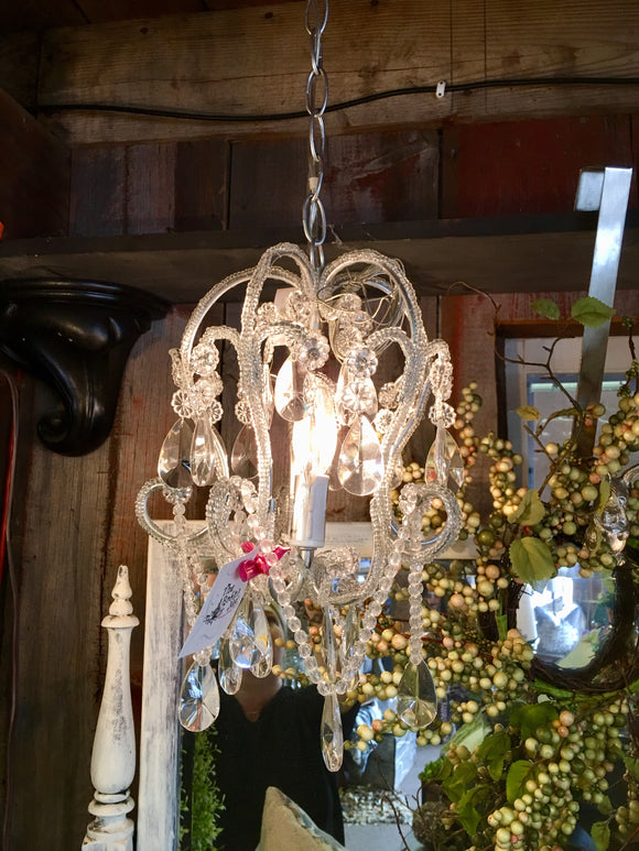 1 light silver\white chandelier