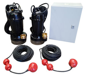 AL750-1 Dual Single Phase Submersible Pump System with Control Panel and Float Switches - Pumps2You