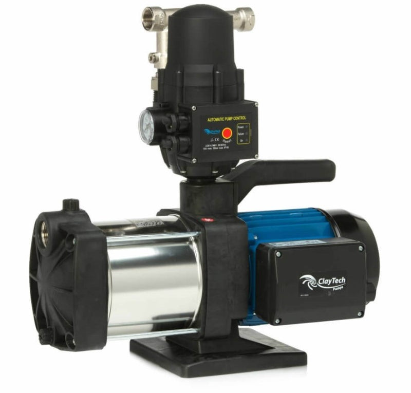 "ClayTech CMS I240A2 Surface Mounted Self Priming Multistage Pressure Pump with Aquatron Controller & 3/4"" AcquaSaver 0.75KW 240V (807985) - Contact us for availability"