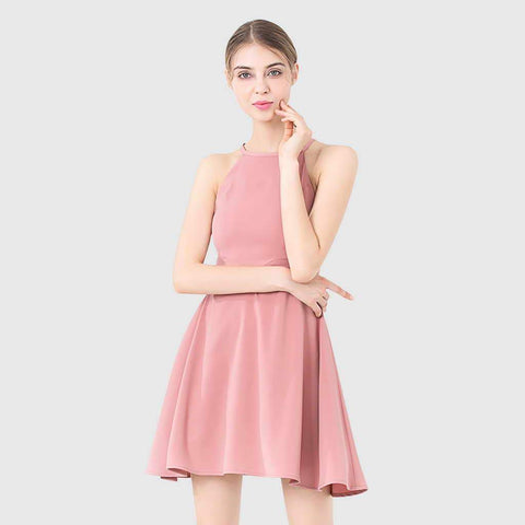 ROBE ROSE COURTE PATINEUSE COL AMÉRICAIN