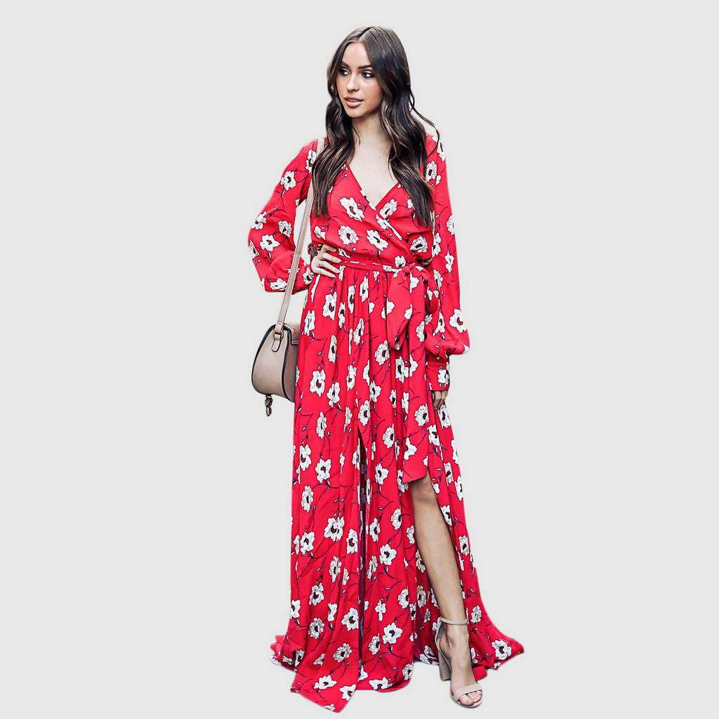 Robe portefeuille rouge motif
