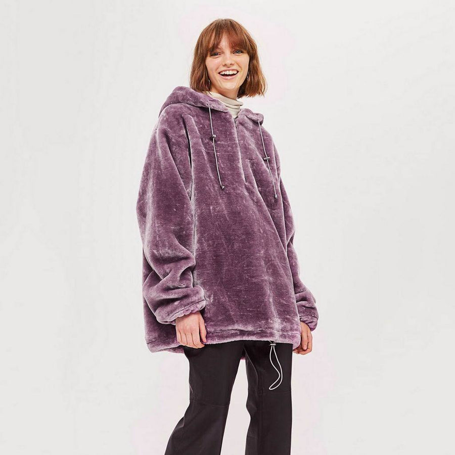 Sweat à Capuche Oversize Violet, Chaud et Confortable