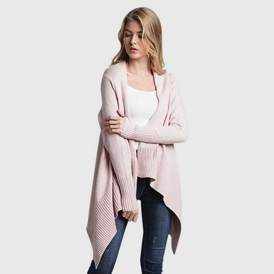 Gilet Rose Asymétrique long