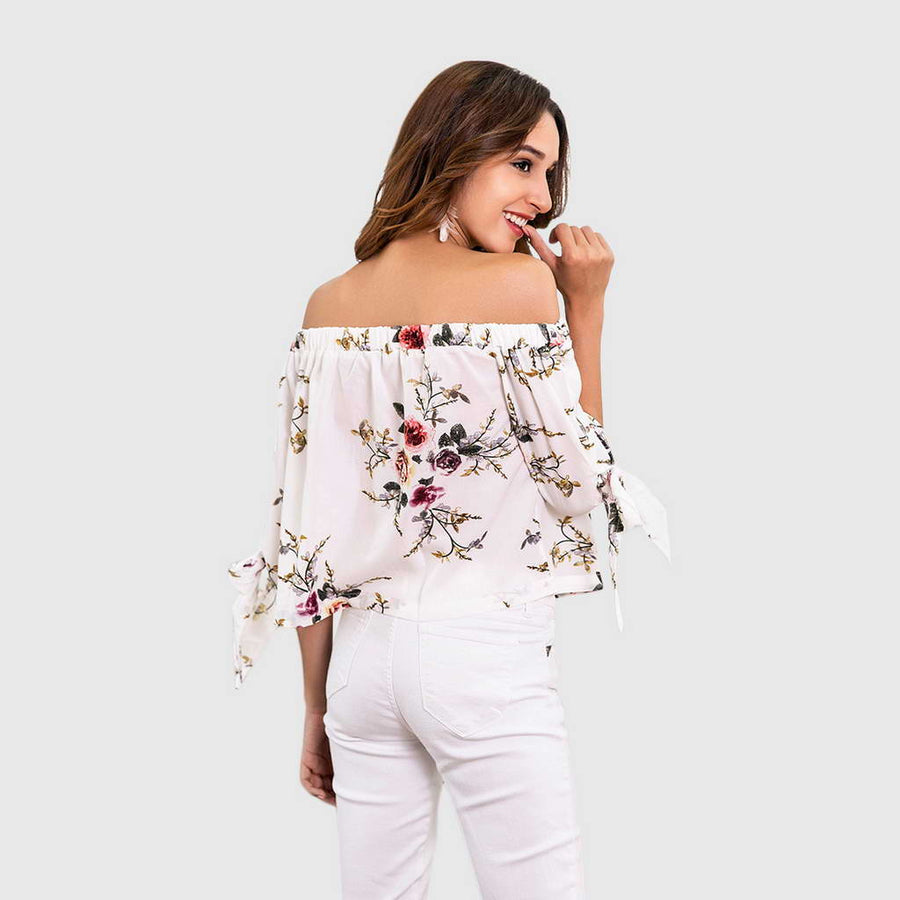 Blouse Florale Estivale Blanche Simple