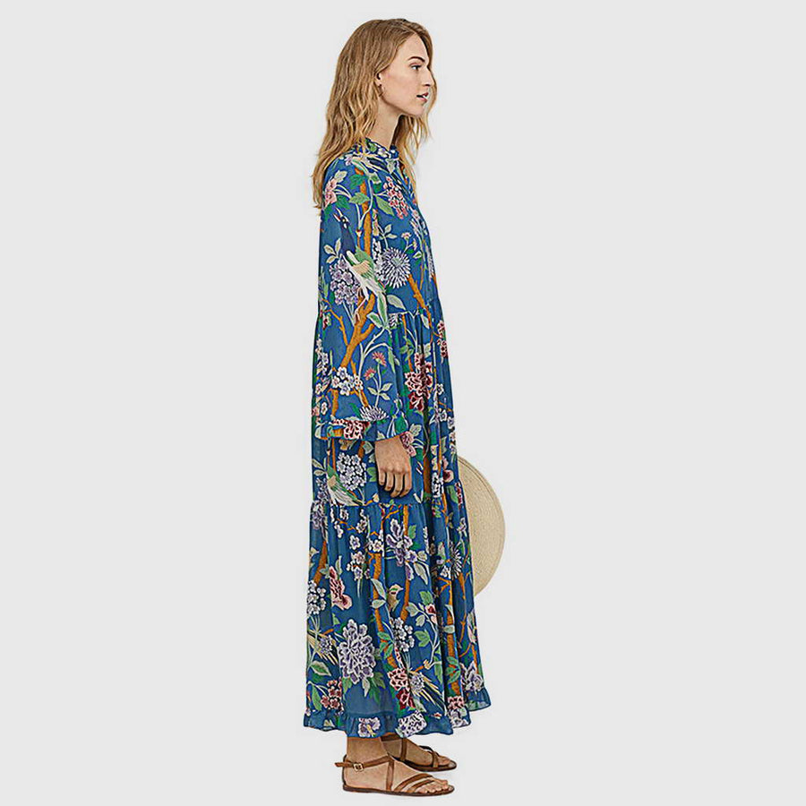 Robe Longue Ample Bleue Tropicale Funky