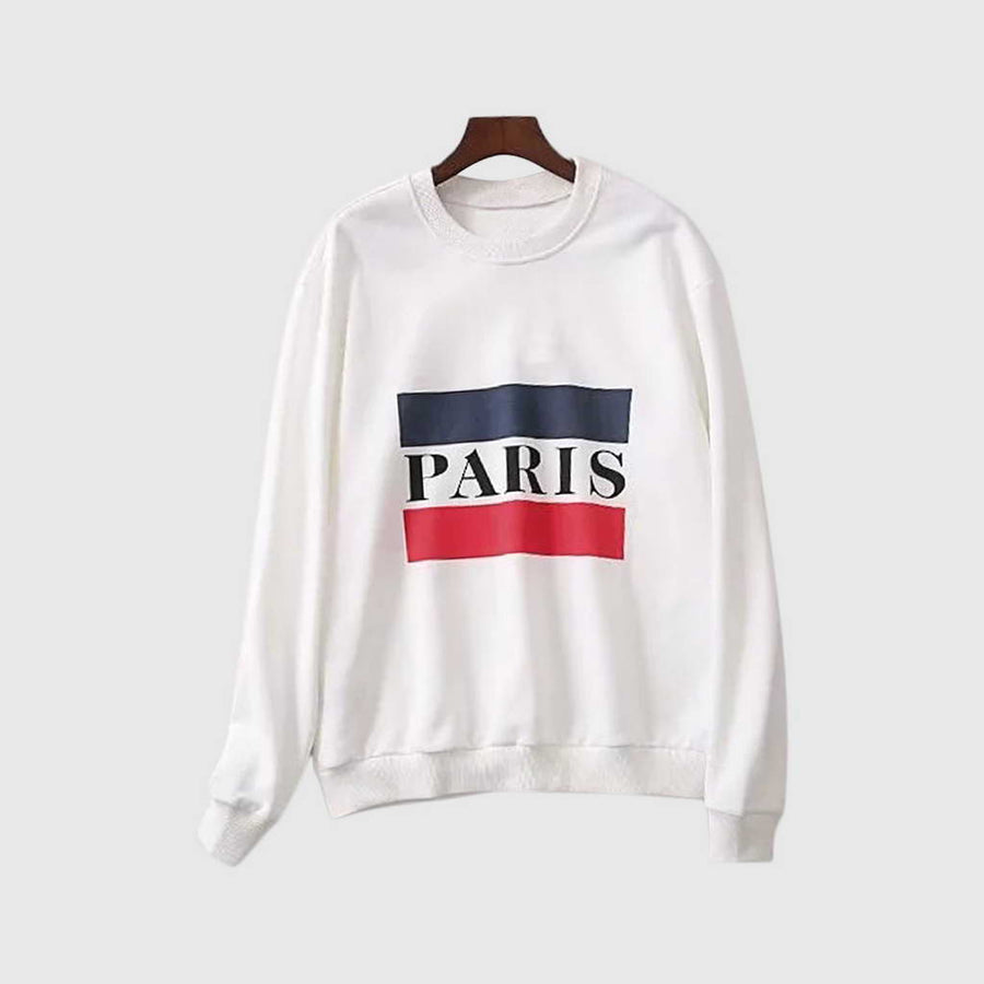 Sweat Blanc Léger Paris Mi-Saison