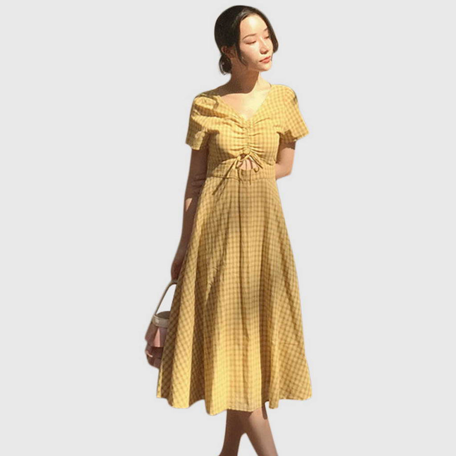 Robe Vintage Jaune à Carreaux