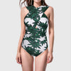 Maillot de Bain Tropical à Decolleté Croisé