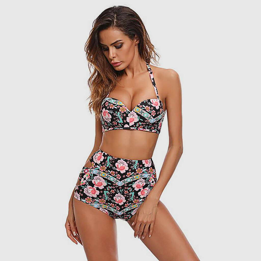 Maillot de Bain Push Up Noir Floral