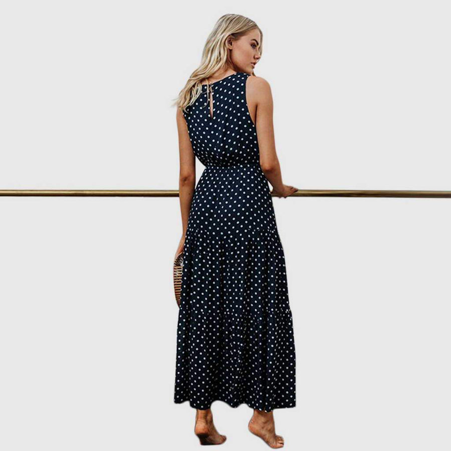 Maxi Robe Simple Marine à Pois