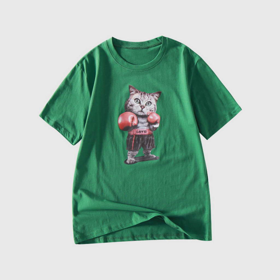 Tee-Shirt Basique Mix-Coton Chat Boxeur