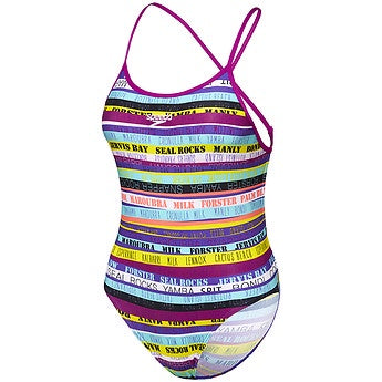 Speedo Girls Open X Back One Piece - Surf Mania Fluro Magenta