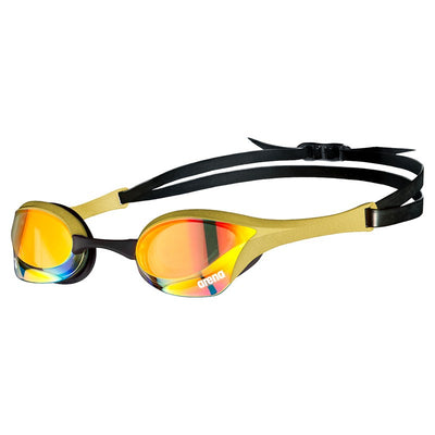 Side view of Arena Cobra Ultra SWIPE Mirror Goggles - Yellow Copper Gold