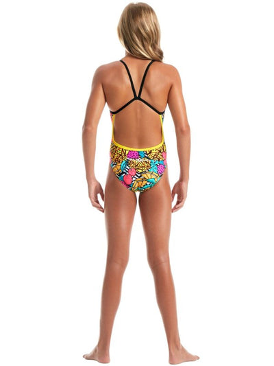 Back view of Amanzi Girls One Piece - Pineapple Punch