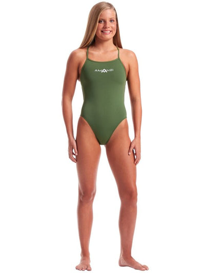 Front view of Amanzi Womens Tie Back One Piece - Memphis