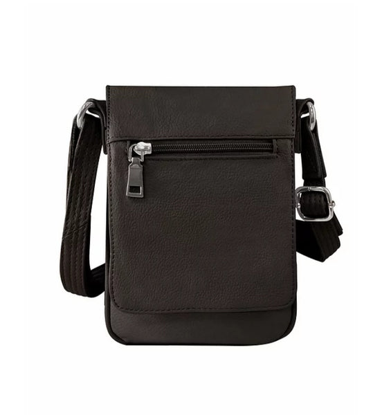 Vertical Leather Concealment Crossbody Bag (7018)