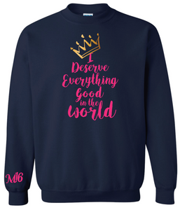 DESERVE EVERYTHING- CREW NECK SWEATER - NAVY