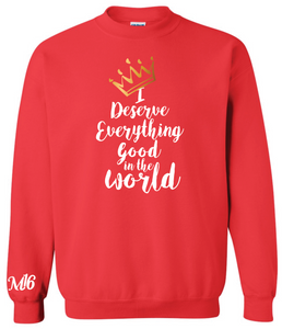 DESERVE EVERYTHING- CREW NECK SWEATER - RED