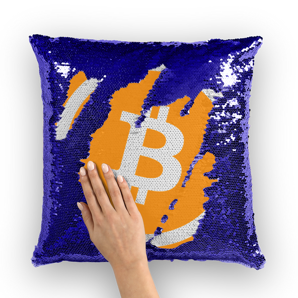 Bitcoin Sequin Cushion Cover and Insert