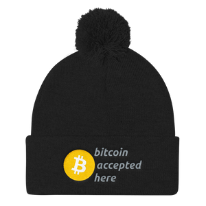 Bitcoin Accepted Here Pom Pom Knit Cap