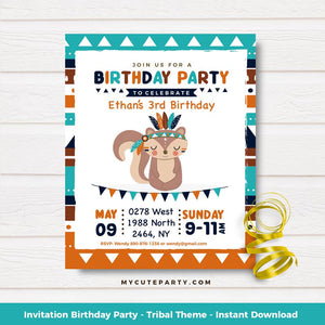 pparty printable invitation tribal boy
