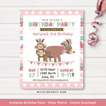 girl tribal invitation printable