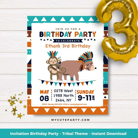 tribal invitation for baby shower