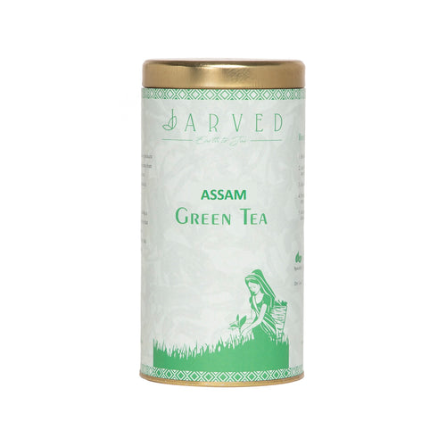 Jarved Green Tea for weight loss and immunity | Sourced in Upper Assam | 150g | Makes 75 Cups | Reusable tin box with double sealing for freshness