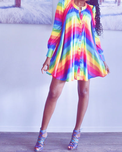 All is love rainbow mini dress - classvips.com