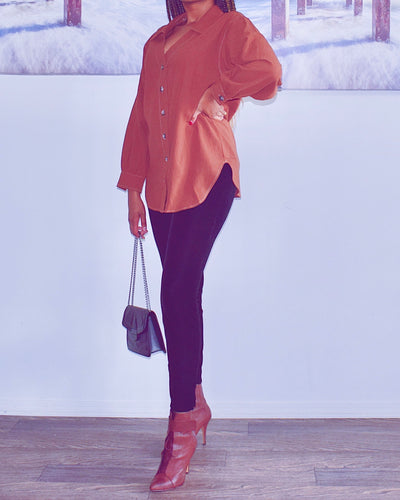 Collard V Neck Tunic Shirt - classvips.com