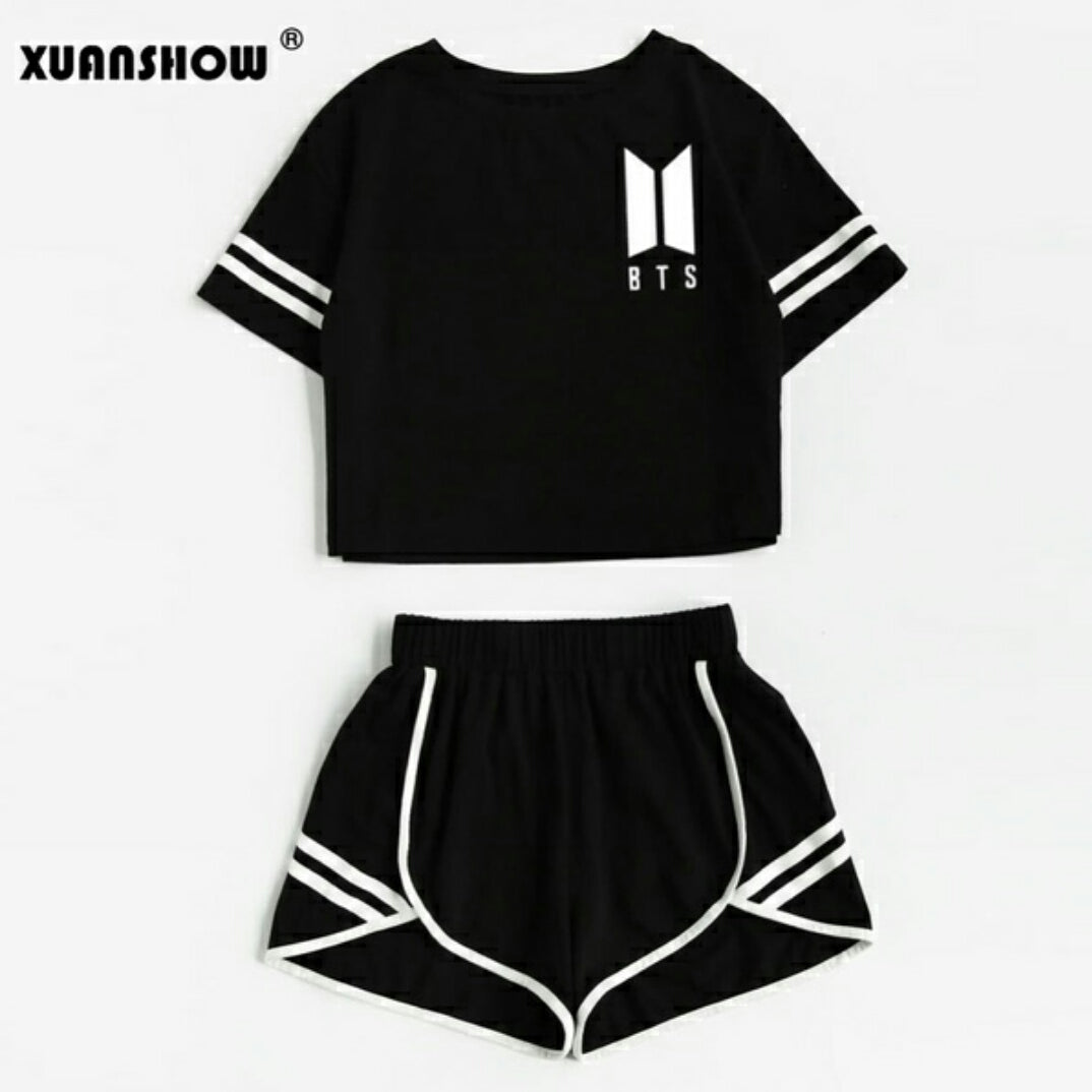 XUANSHOW BTS Set Crop Top + Short Pants Outfit